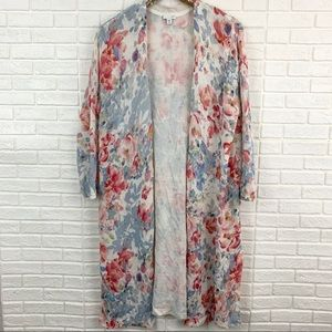 J. Jill floral watercolor linen duster cardigan